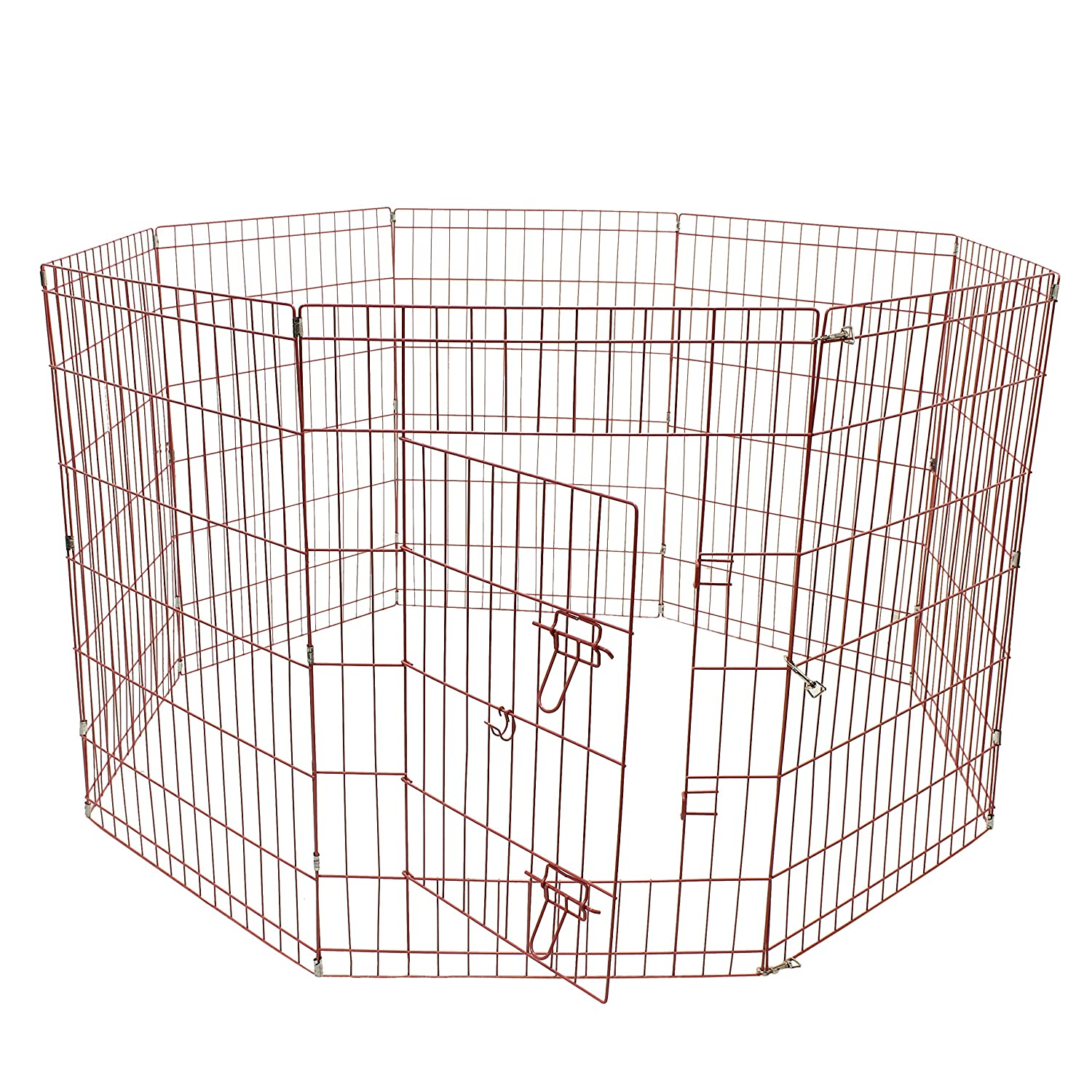 ALEKO SDK-42P Heavy Duty Pet Playpen Dog Kennel Pen Exercise Cage Fence 8 Panel 24 x 42 Inches Pink
