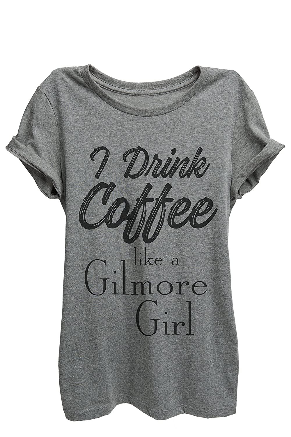 Thread Tank Drink Coffee Gilmore Girls Womens Relaxed T-Shirt Tee Heather Grey