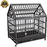 """Haige Pet 42"""" Heavy Duty Stainless Dog Cage Crate Kennel with Wheels and Tray"""