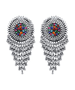 Yellow Chimes Oxidized German Silver Dangler Gypsy look Afghani Antique Chandbali Earrings for Women and Girls