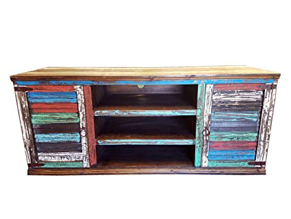 Hiend Cabana Style Rustic Western Multicolor Antique Distressed Reclaimed  Wood Look TV Stand Solid Wood Already - Amazon.com: Hiend Cabana Style Rustic Western Multicolor Antique