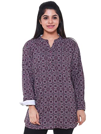 eb625998225 Twist Women s Purple Printed Party Wear Casual 3 4th Sleeve Short Kurti Tops  with Contrast   Free Shipping  Amazon.in  Clothing   Accessories