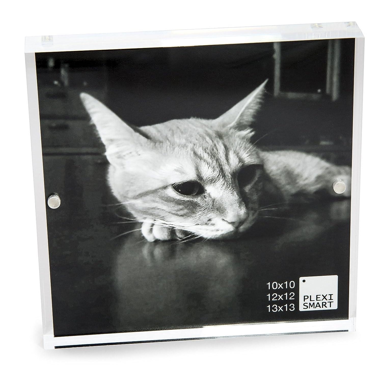 Plexismart Cornice Foto 10 x 10 x 3 cm in Plexiglass - Portafoto da Tavolo con Chiusura Magnetica Made in Italy, Trasparente
