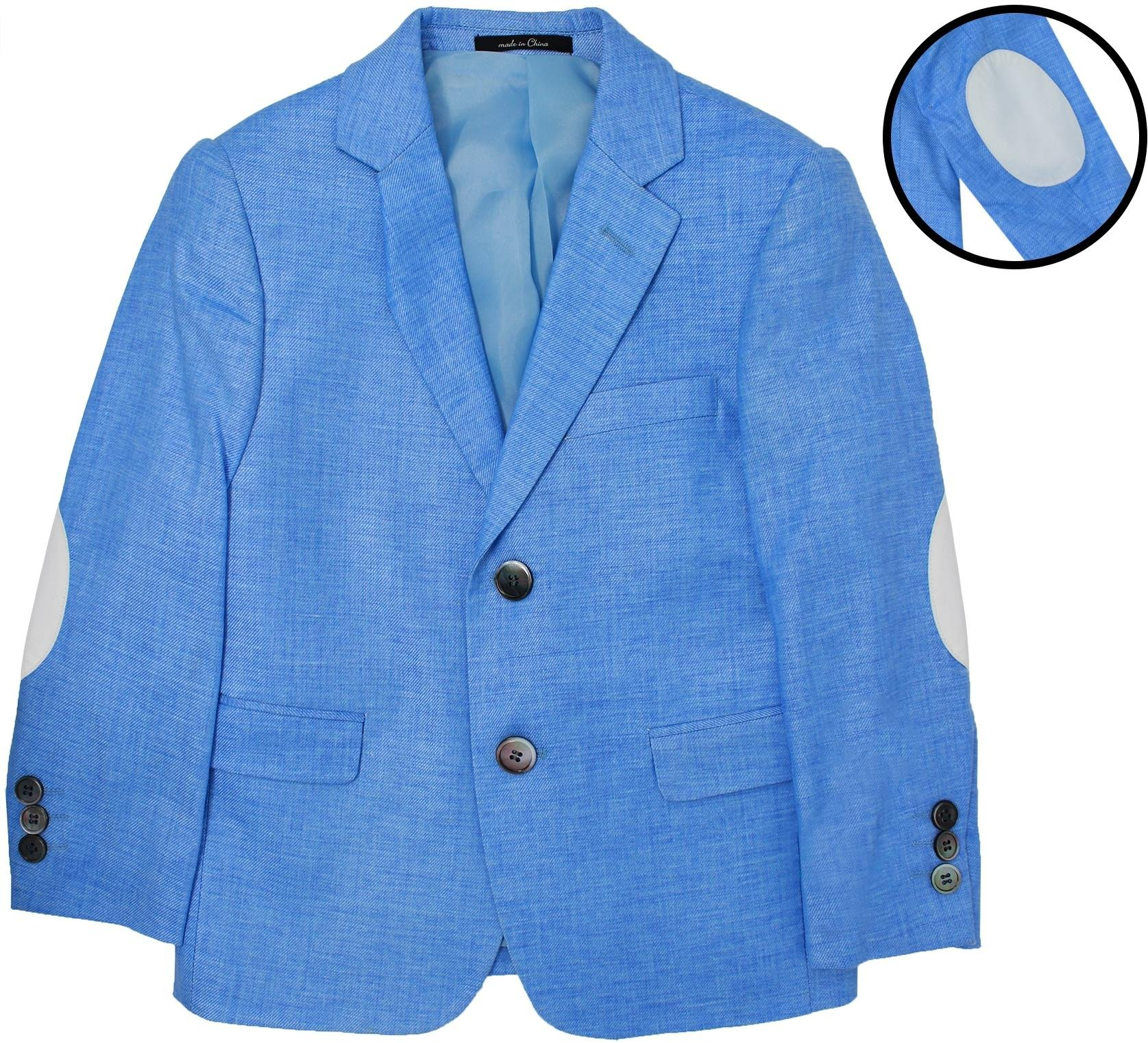 T.O. Collection Boys Blue Slim Fit Blazer With Elbow Patches - 6020-4 - Blue, 5 Slim