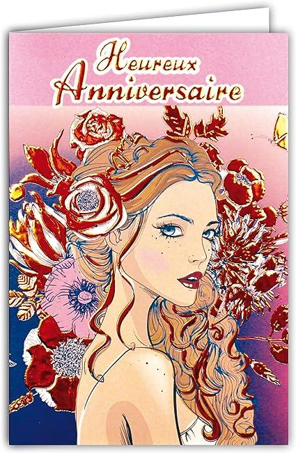 carte anniversaire jeune fille 69 4076 Carte Heureux Anniversaire Dorure Orange Cuivré Brillant
