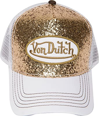 5ad67ce8 Von Dutch Trucker Sparkle Cap with Logo Patch (Gold VDHT225) at ...