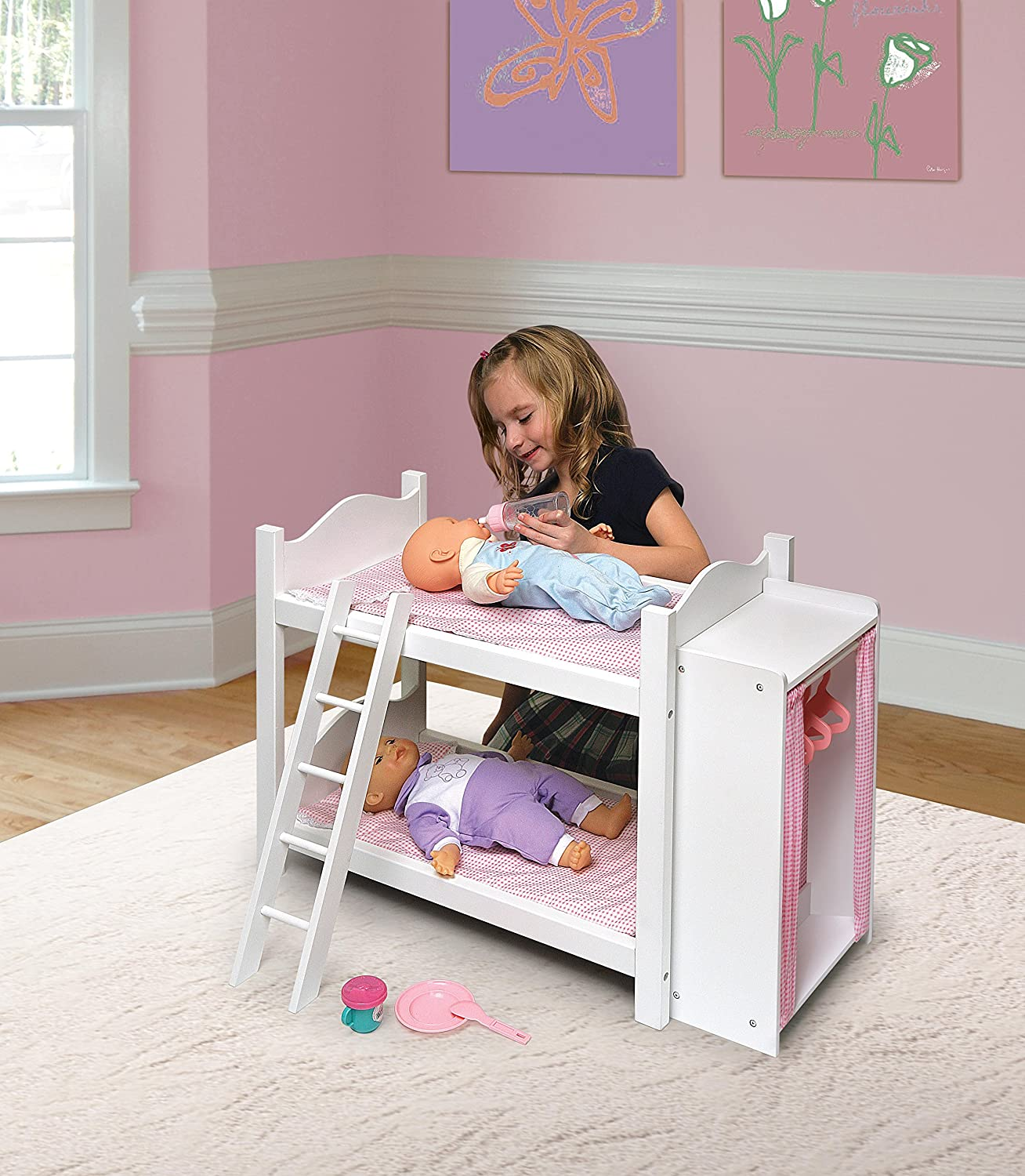 Amazon.com: Badger Basket Doll Bunk Beds With Ladder And Storage Armoire  (fits American Girl Dolls): Toys U0026 Games