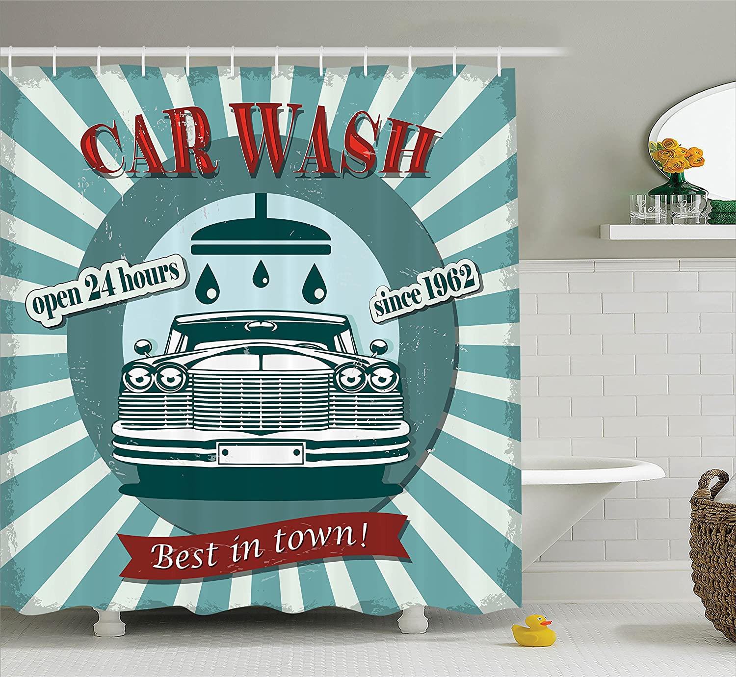 Ambesonne 1960S Decor Shower Curtain Set, Vintage Graphic Design for A Car Wash Sign Commercial with Aged Classic Retro Arsty Texture, Bathroom Accessories, 69W X 70L Inches, Red Teal