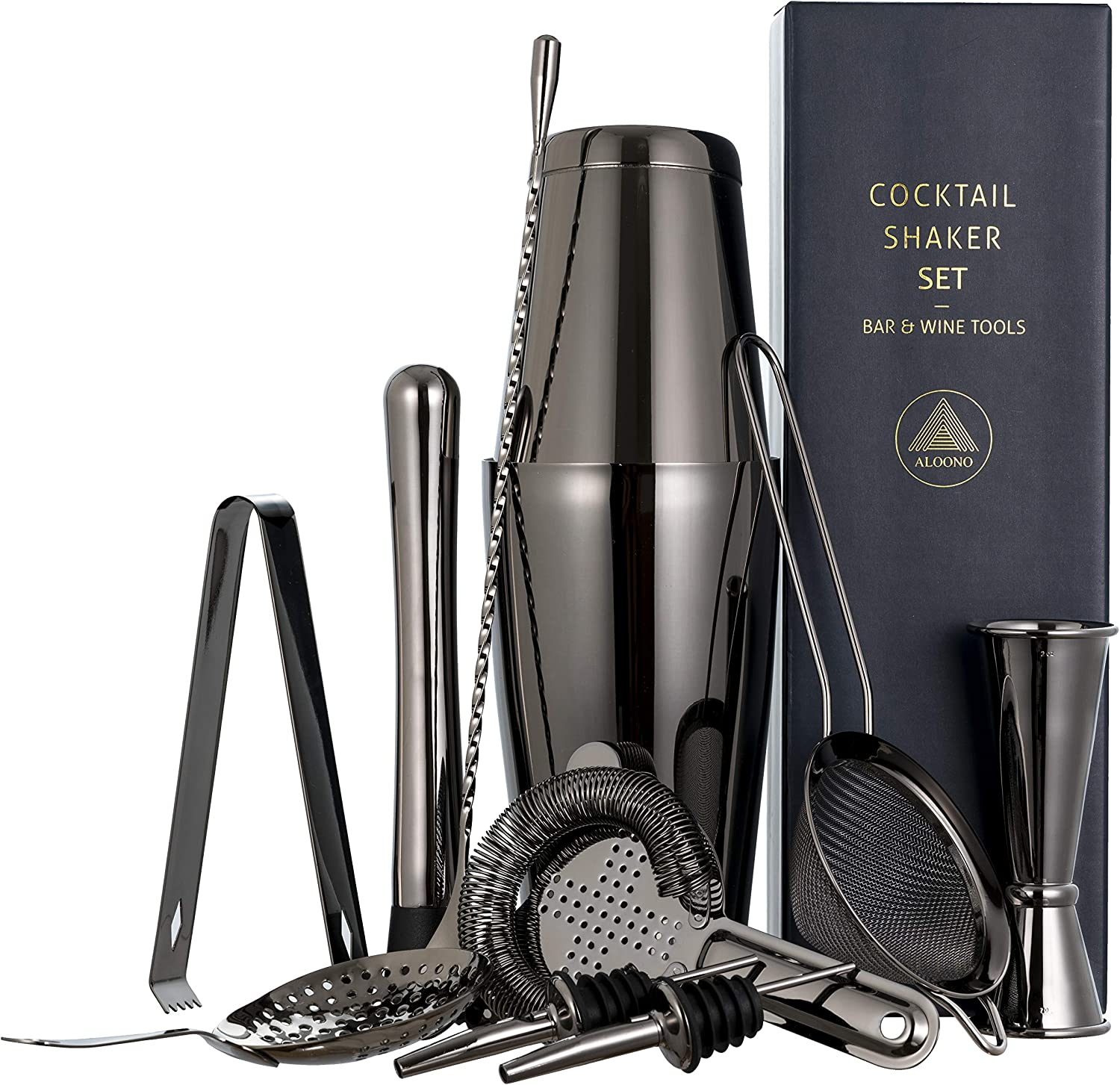 Best Bartender Kit Black Soing 11-Piece Black Bartender Kit,Perfect Home Cocktail Shaker Set for Drink Mixing,Stainless Steel Bar Tools with Stand,Velvet Carry Bag /& Cocktail Recipes Cards