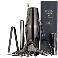 11-piece Black Cocktail Shaker Bar Set: 2 Weighted Boston Shakers, Cocktail Strainer Set, Double Jigger, Cocktail…