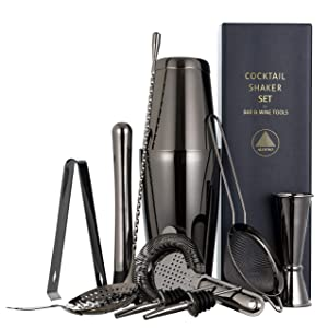 11-piece Black Cocktail Shaker Bar Set: 2 Weighted Boston Shakers, Cocktail Strainer Set, Double Jigger, Cocktail Muddler and Spoon, Ice Tong and 2 Liquor Pourers