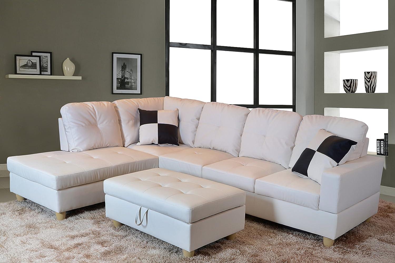Amazon com lifestyle furniture urbania left hand facing sectional white kitchen dining