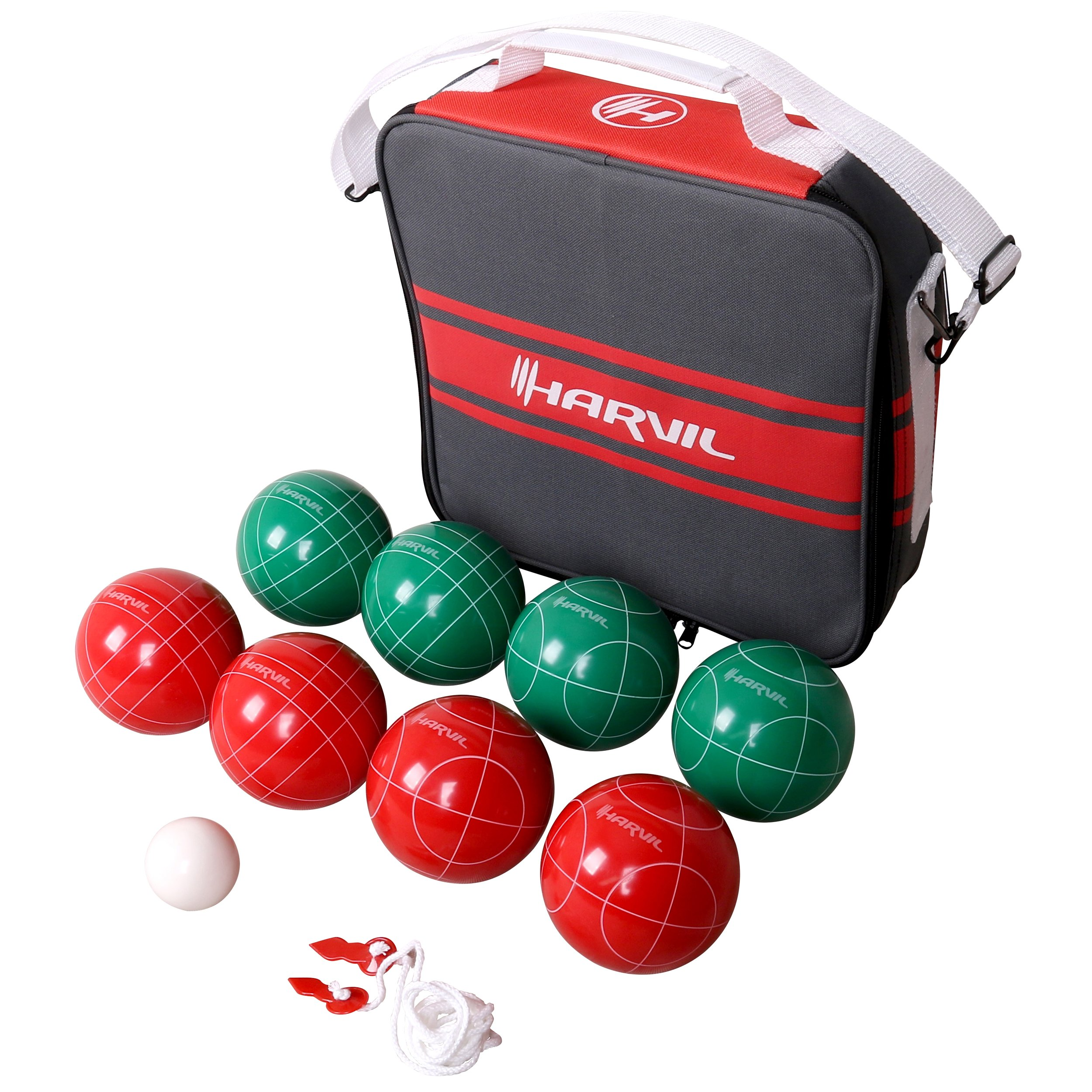 Harvil 100mm Bocce Ball Set. Includes 8 Poly-Resin Balls, 1 Pallino, 1 Nylon Zip-Up Carrying Case and Measuring Rope. by Harvil
