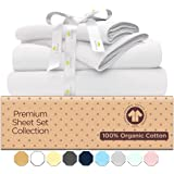 Organic Cotton Bed Sheets Set - 500TC King Size Ultra White - 4 Piece Bedding - 100% GOTS Certified Extra Long Staple…