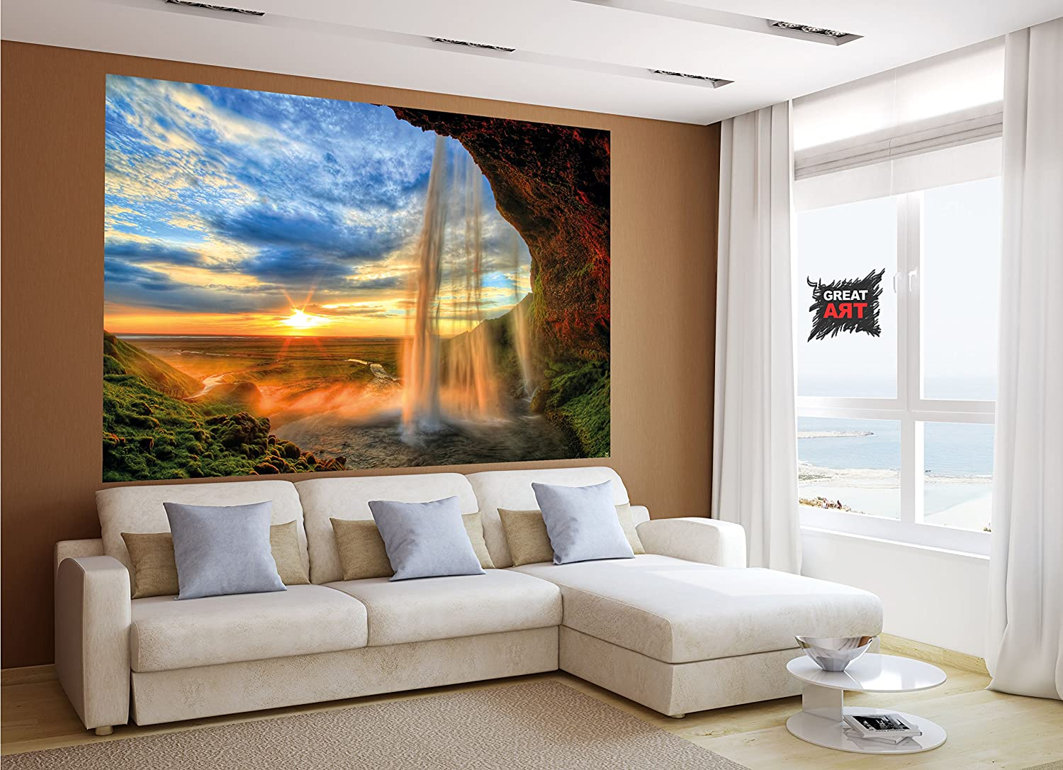 Waterfall at Sunset XXL Mural Waterfall Sunset Poster 82.7 Inch x 55 Inch