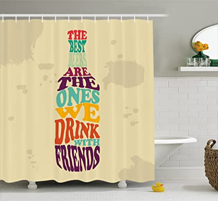 Lunarable Man Cave Shower Curtain Lettering Inside The Beer Can Typography Style Drinking With Friends