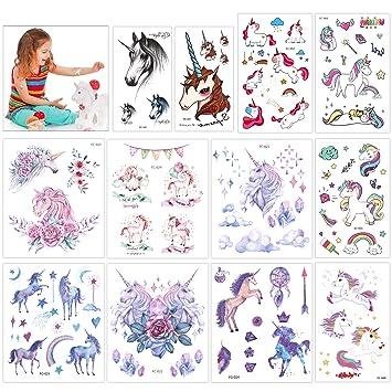 Konsait 130 Brillo Tatuajes temporales Unicornio (12 Hojas), Artículos para Cumpleaños Fiestas Infantiles, Idea de Regalo, Piñata, Unicornio Cumpleaños de ...