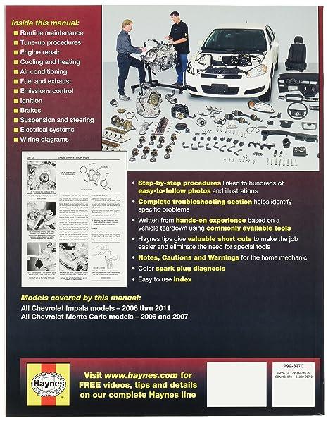amazon com: chevrolet impala (2006-2011) and monte carlo (2006-2007) haynes  repair manual: automotive
