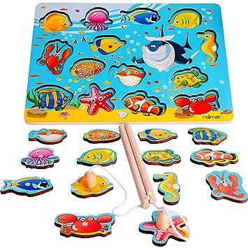 Rolimate Juguetes de Pesca Juguetes Magnéticos, Juguetes Educativos Montessori Juguete de Madera, Rompecabezas de Madera de Juguete de Preescolar, ...