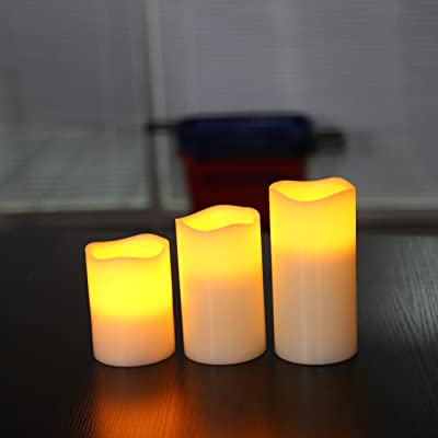 3 Set real Ivy wax Flickering Flameless LED Candles 3 different lengths 4 5 6 inch Weddings Birthdays Christmas celebratory occasions. 8 hour timer: Home Improvement