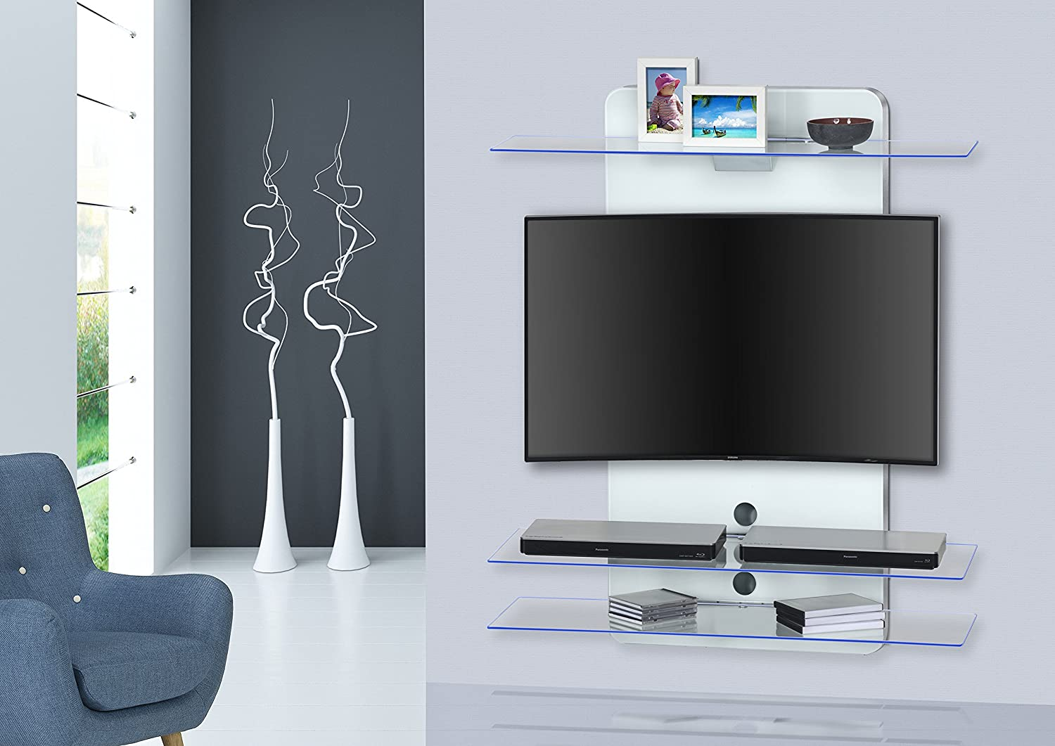 Fabulous Wall Shelf Wall Mount Tv Stand With Led Lighting Maja Download Free Architecture Designs Scobabritishbridgeorg