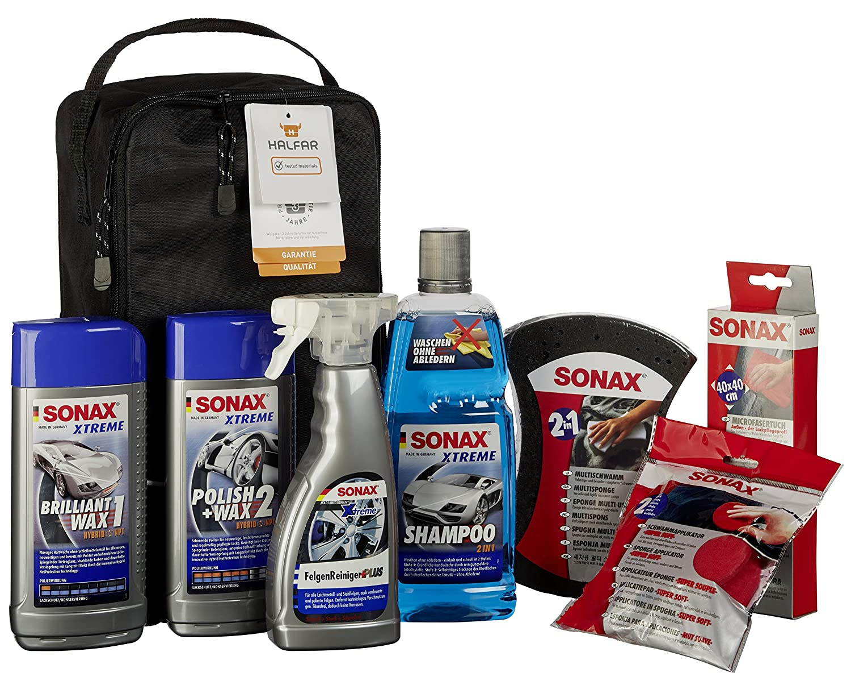 sonax 761541 autopflege set mit tasche 7 teile ebay. Black Bedroom Furniture Sets. Home Design Ideas