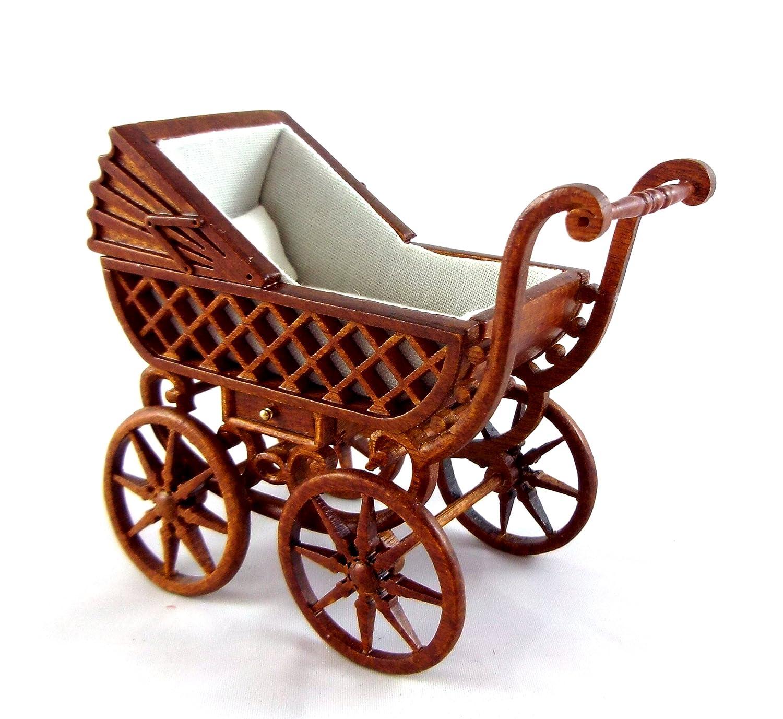 Puppenhaus Feine Miniatur Kinderzimmermöbel Walnussholz Kinderwagen Baby Träger