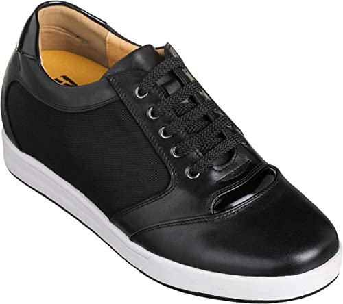 TOTO Men's Invisible Height Increasing Elevator Shoes Black LeatherMesh Lace up Casual Fashion Sneakers 3.2 Inches Taller A53272