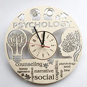 7ArtsStudio Psychology Wall Clock Made of Wood - Perfect and Beautifully Cut - Decorate Your Home with Modern Art - Unique Gift for Him and Her - Vintage Room Bedroom Kitchen Decor - Size 12 Inch