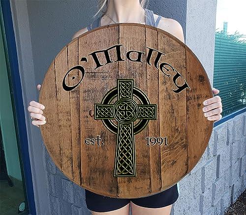 Rustic Wall Decor Personalized Celtic Cross Irish Pub Whiskey Barrel Bar Decor