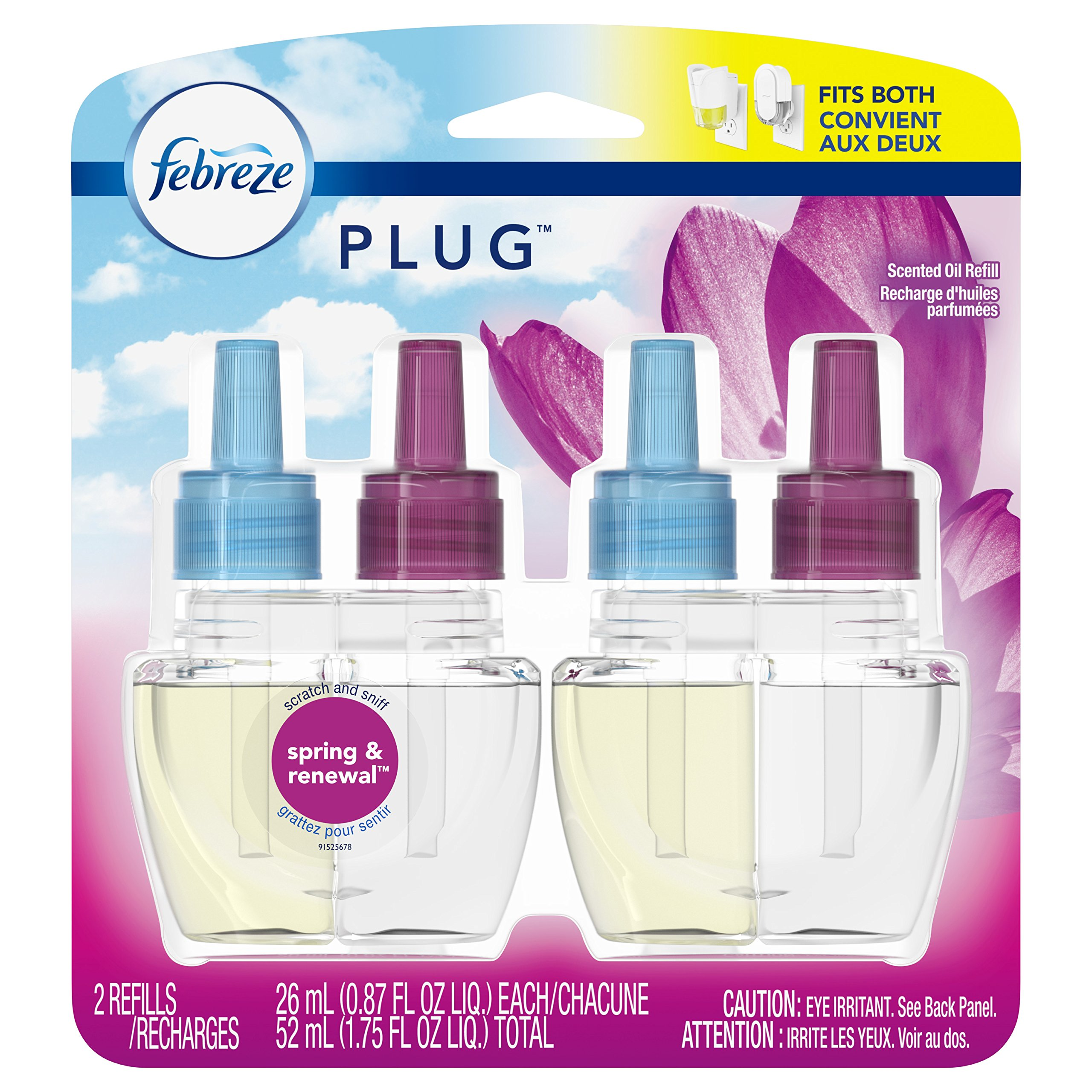 Febreze Plug Scented Oil Refill, Spring & Renewal, 2 Count (Packaging May Vary)