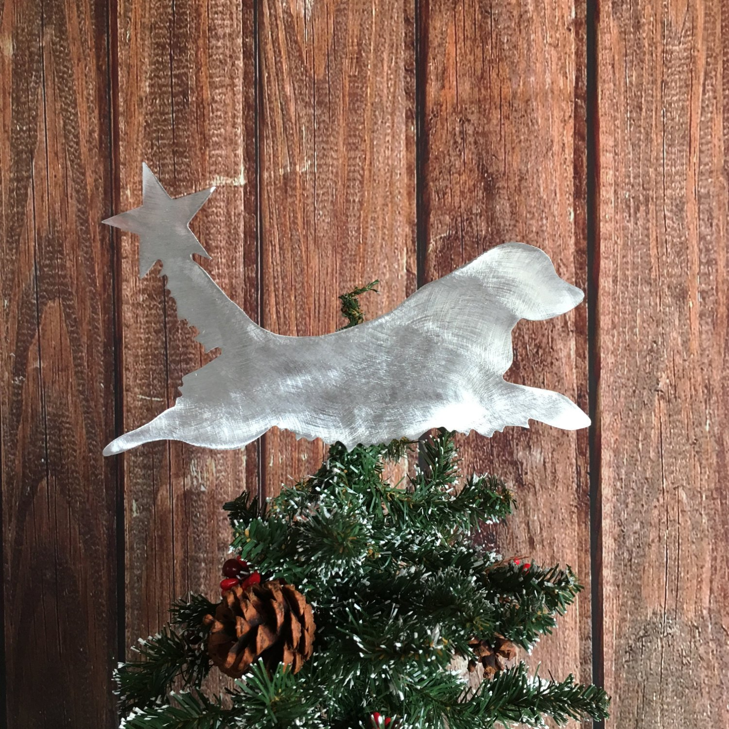 Golden Retriever Dog Christmas Tree Topper, Holiday Decoration, Aluminum