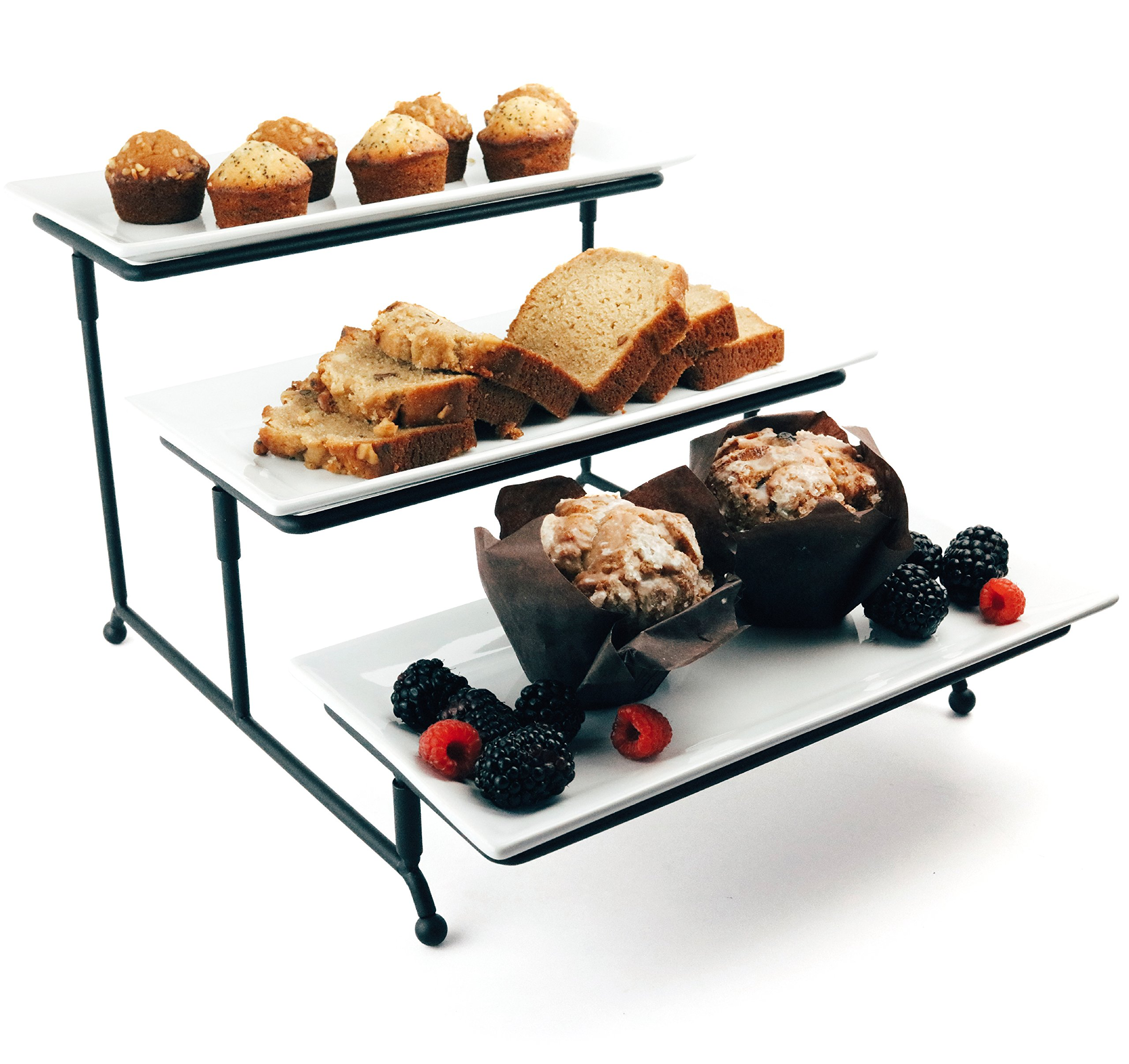 Food Serving Tray Set: 3 Tier Metal Display Stand With 3 White Rectangular  Stoneware Platters