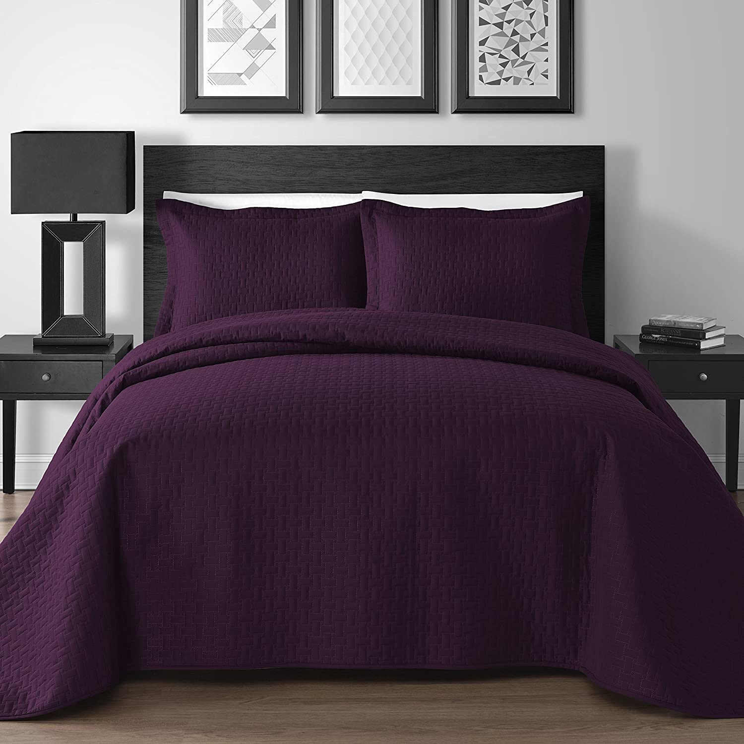 (King/Cali King, Plum) Extra Lightweight 3 Piece King & Queen Home Thermosonic Embossed Frame Coverlet Bedspread Set (King/Cal King, Plum) B01FN84WJS King/Cali King|プラム プラム King/Cali King