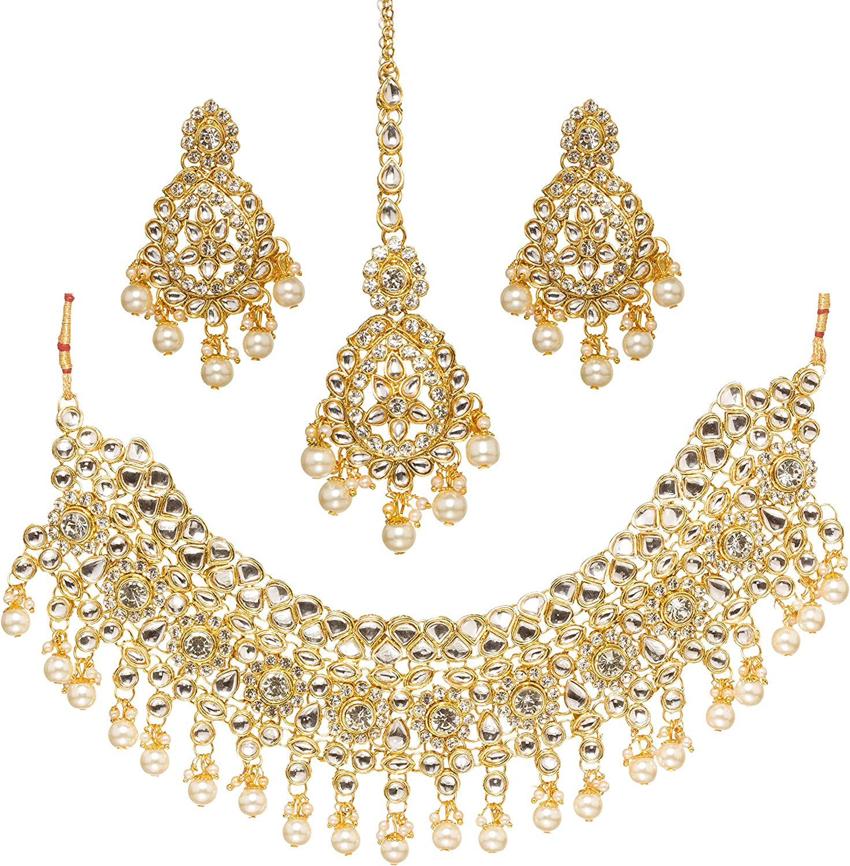 Bridal set kundan polki stone indian necklace choker long earrings with mang tikka women wedding ethnic jewelry Bollywood jewellery sets