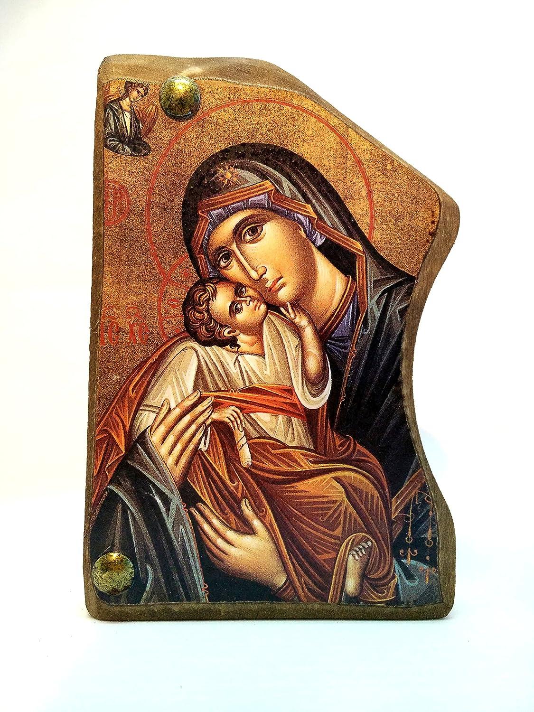 Icona di Gesù Cristo e della Vergine Maria in legno, greca cristiano ortodossa, fatto a mano / MP4 IconsGr