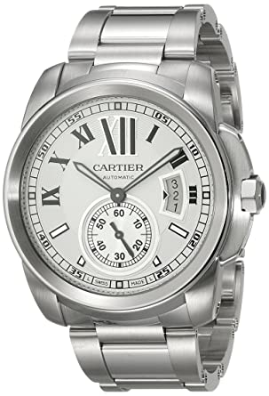 e4ac811a3e6 Image Unavailable. Image not available for. Color  Cartier Men s W7100015 Calibre  de Cartier Silver-Tone Stainless Steel Opaline Dial Watch