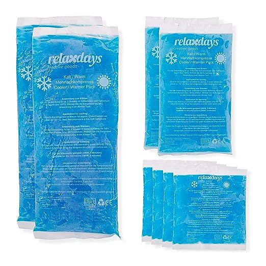 Relaxdays Pack de 8 Bolsas Frío Calor Reutilizables para Lesiones, Gel y PE, Azul, Varios tamaños