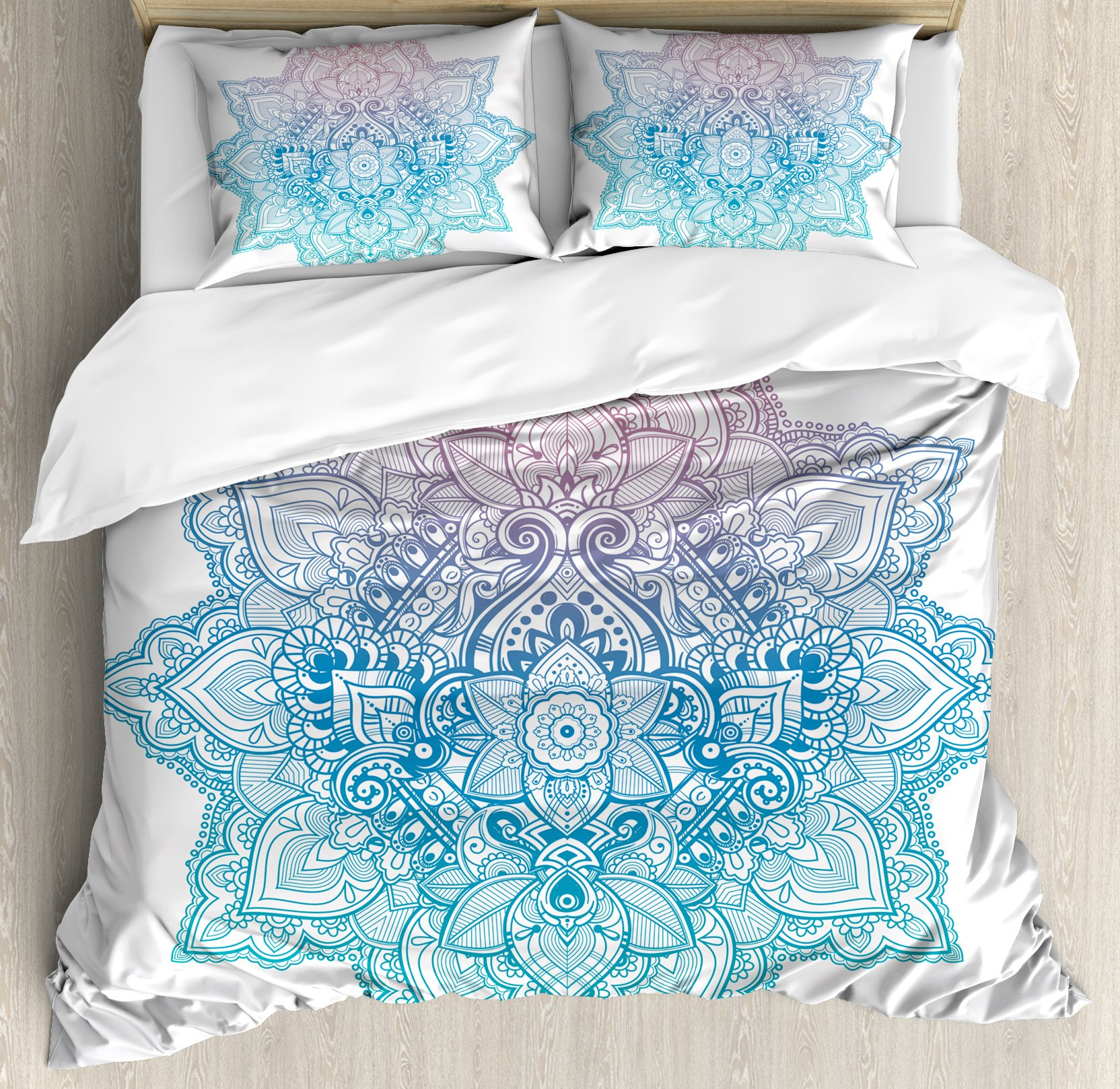 Ambesonne Lotus Duvet Cover Set by, Bohemian Tattoo Style Zen Pastel Toned Mandala Abstract Lotus Flower Design, 3 Piece Bedding Set with Pillow Shams, Queen/Full, Lilac Light Blue