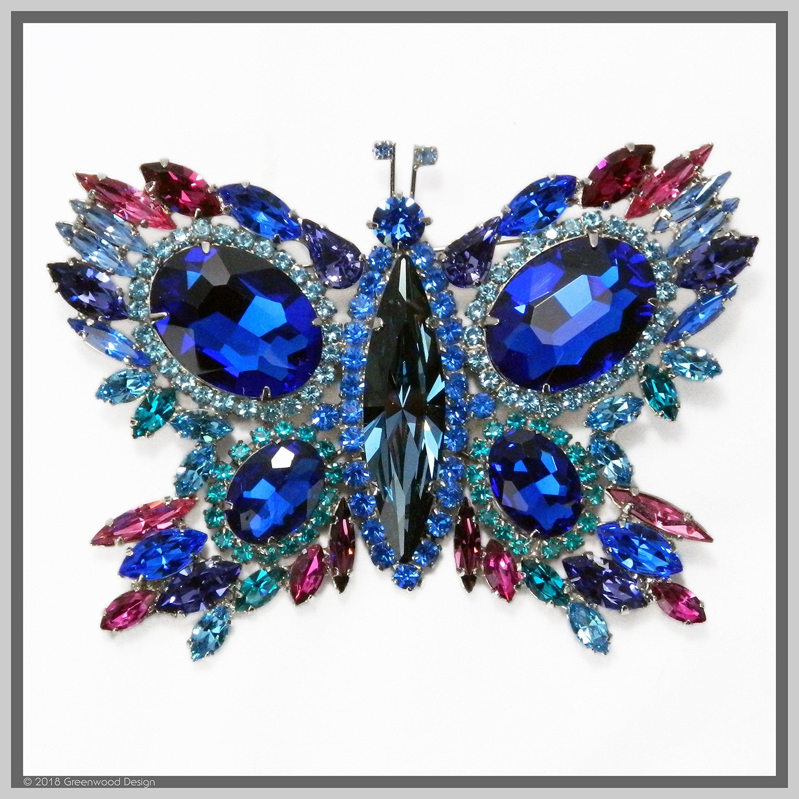 Hand Made Jewelry Art Butterfly Brooch Pin Cobalt Blue Winged Swarovski Crystal Rhinestones
