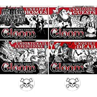 BUNDLE of 4 Expansions for the Gloom Card Game Unhappy Homes Unwelcome Guests Unfortunate Expeditions and Unquiet Dead Second Edition Plus 2 Bonus Skull Buttons