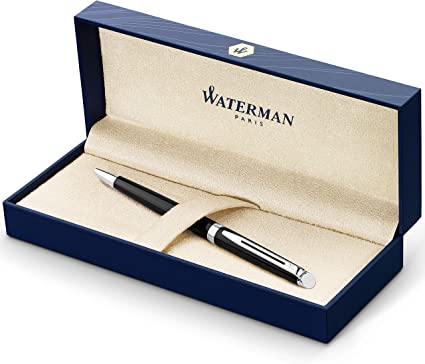 Waterman Hémisphère bolígrafo, con adorno cromado, punta media con cartucho de tinta azul, estuche de regalo, color negro brillante: Amazon.es: Oficina y papelería