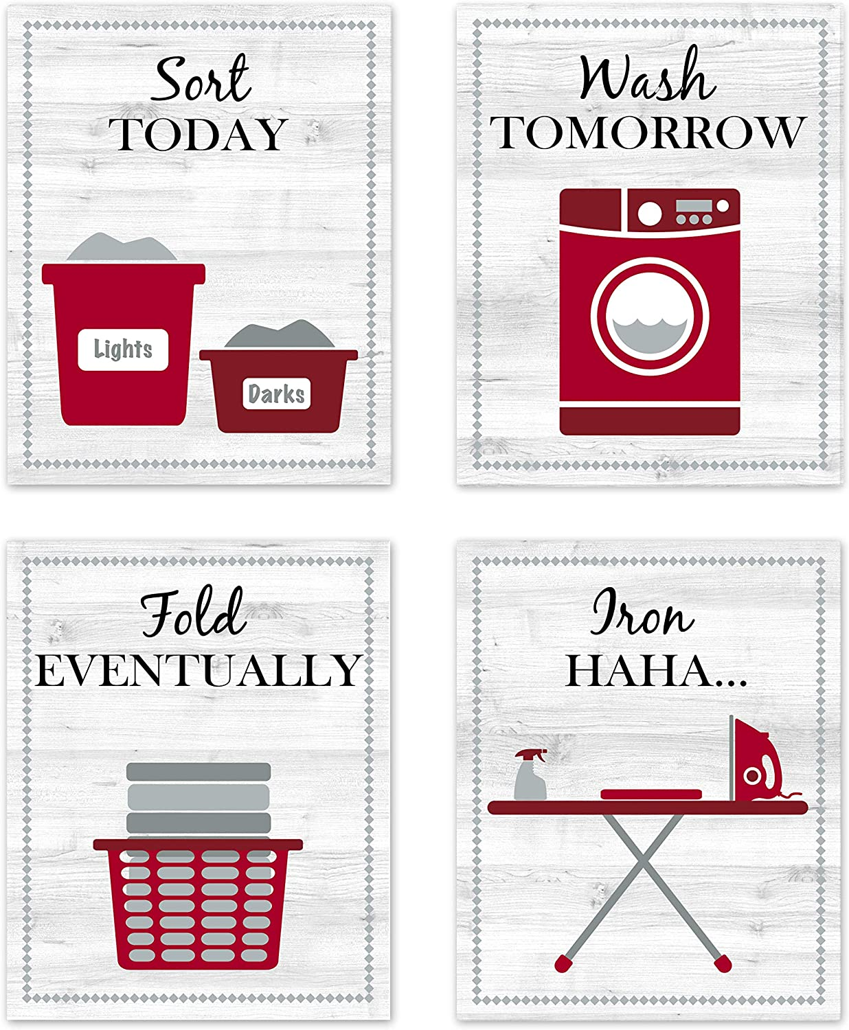 "Red Maroon Gray and White Retro Vintage Inspirational Laundry Room Rules Decorations Decor Wall Art for Laundromat Wash Sort Fold Iron Prints Posters Pictures Sign Rustic Modern Farmhouse Country Home Funny Sayings Quotes Unframed 8""x10"""