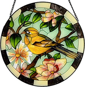 """Lio's Art Stained Glass for Window Hangings   Large Round 10""""   Bird Suncatcher Panel   Parrot Hand Painted Stained Sun Catcher Hummingbird   Handmade Cardinal Decoration for Wall or Window"""