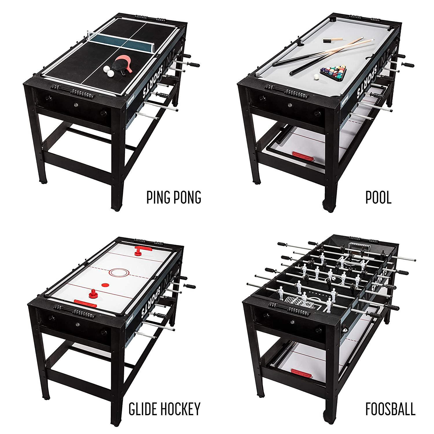 Amazon.com : Franklin Sports 4 In 1 Game Table   Includes Foosball Table    Mini Pool Table   Mini Glide Hockey Table   Mini Ping Pong Table   Change  Games ...