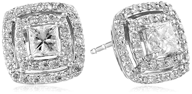 14k White Gold 1cttw Diamond Cushion Stud Earrings