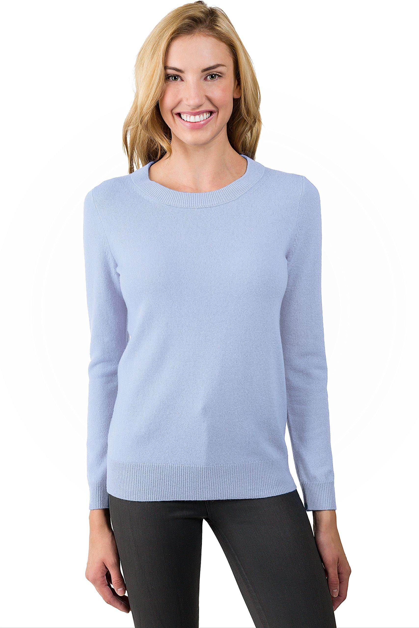 JENNIE LIU Women's 100% Pure Cashmere Long Sleeve Crew Neck Sweater (M, Sky)