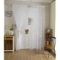 Blesiya 1Pc Flocking Butterfly Sheer Curtain Window Balcony Tulle Valance Drape100*200cm