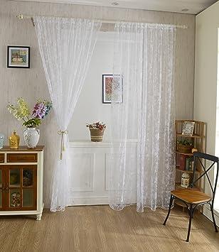 xcm cortina de gasa patrn mariposa para ventana habitacin blanco