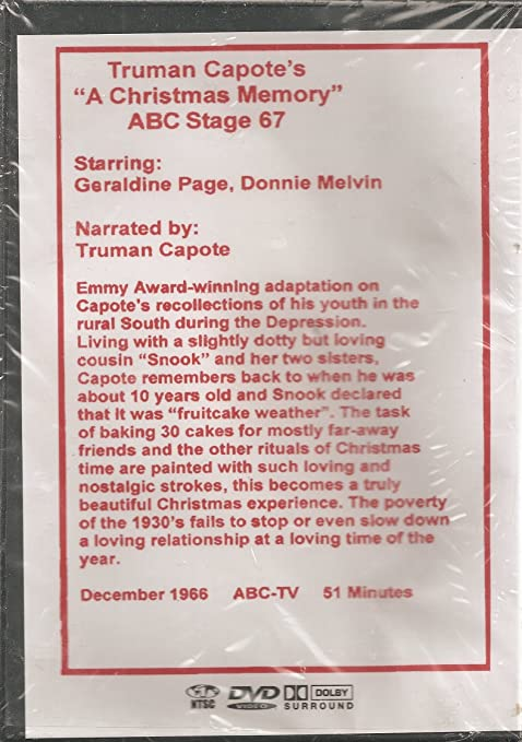amazoncom truman capotes a christmas memory abc stage 67 geraldine page truman capote donnie melvin lavinia cassels frank perry movies tv - A Christmas Memory Full Text